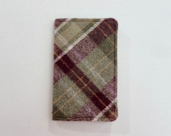 Burgundy and Tan Plaid Flannel Mini Wallet