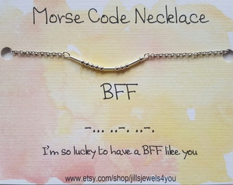 BFF Best Friend Gift, Morse Code Necklace, Friendship Necklace, Best Friend Gift For Her, Christmas Present, Cute Best Friend Gift Necklace