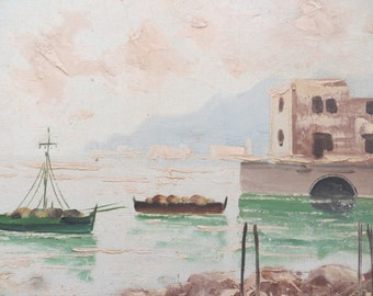 Nautical scene oil painting w/ Boats