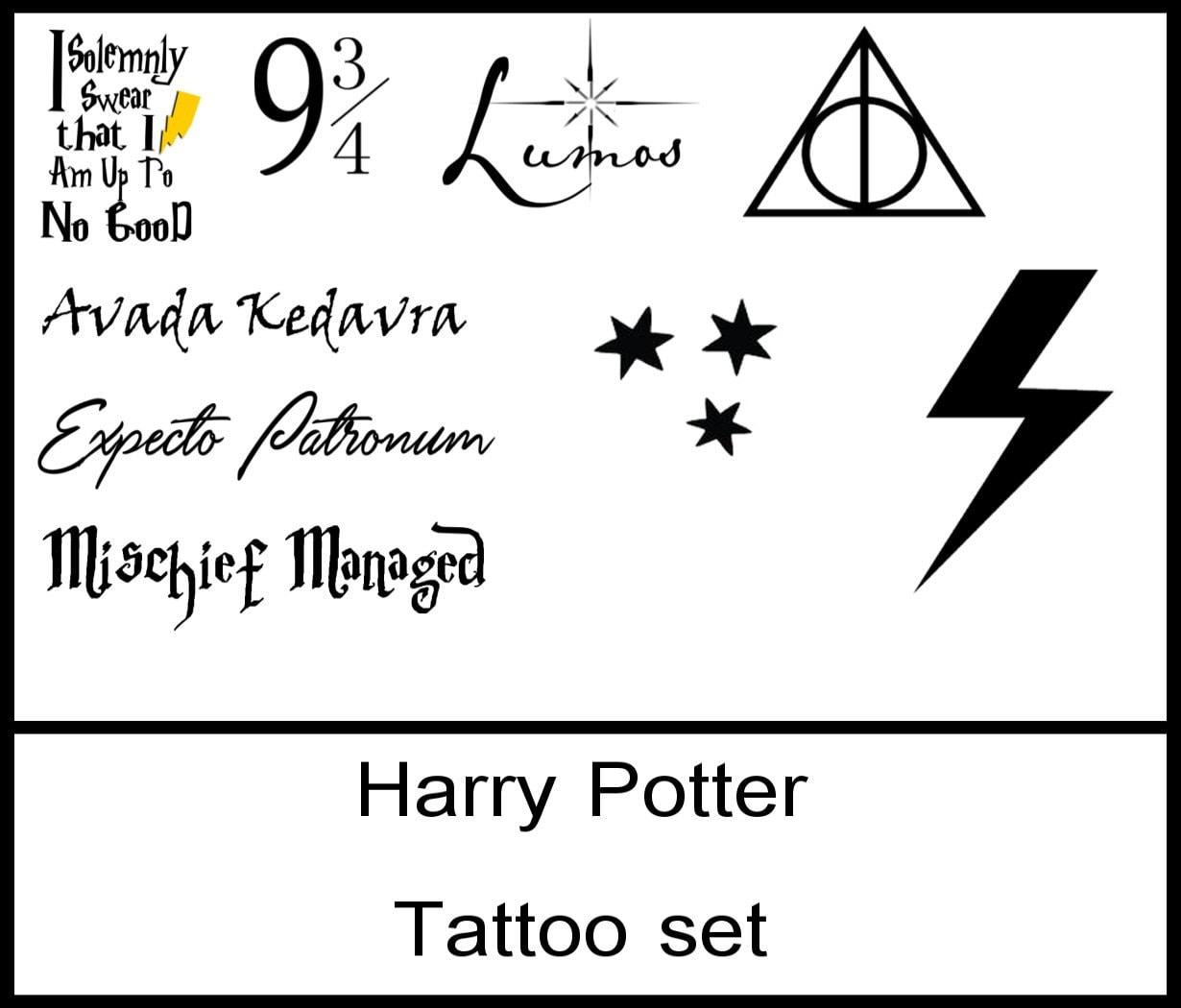 Harry potter tattoo set avada kedavra deathly hallows zoom buycottarizona