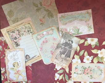 Sweetheart Valentine Vintage  Ephemera with Scrapbook Papers Victorian