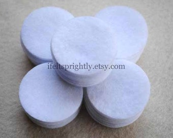 1.5 Inch Die Cut Felt Circles in White, OR your choice of colors, Set of 50