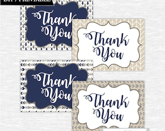 Instant Download Tan Brown Navy Deer Woodland Party Thank You cards Thank You notes Birthday party DIY Printable (SWW307)
