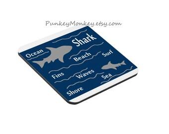 Shark coasters set of 6 made to order sharks surfing beach shore ocean sea creatures shark week shark coaster set shark decor diving surf
