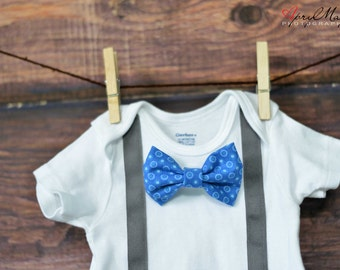 Bow Tie Onesie and Suspenders, Bow Tie Suspenders, First Birthday Outfit, Nerd Baby Costume, Tie Onesie, Birthday Outfit, Bow Tie Baby, 1 yr