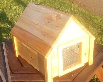 Large insulated feral cat, small dog outdoor shelter, cedar wood, TBNUP