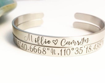 Set of Stainless Steel ~ Custom Hand Stamped  ~ Coordinates ~ Latitude Longitude ~ Family Names Cuff Bracelets ~ Personalized ~ Quote ~ HLJ