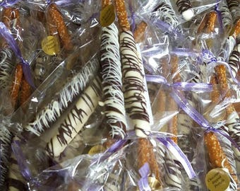 Pretzels, Chocolate Pretzels, Chocolate Covered Pretzels, Dark Chocolate, White Chocolate, Gifts for Him, Chocolate Gifts, Party Favors,
