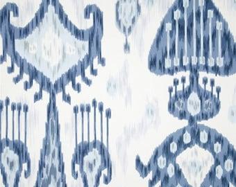 Window Valance Ikat valance 50 x 14 50 x 16 Robert Allen Khandar Indigo Ikat Blue Off White Topper Valance Window treatment kitchen valance