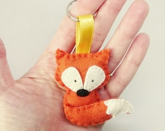 Felt fox keychain  wool forest animals accessories gift for her key holder party supplies for kids
