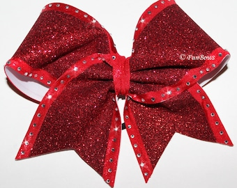 WOW Glitter and Rhinestones Cheer Bow Allstar Sized by Funbows !