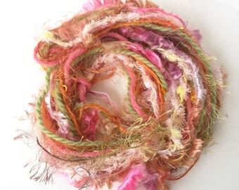 Gelati Art Yarn Bundle - Pink and Orange Novelty Yarns - Gift Ribbon - Scrapbooking Supplies