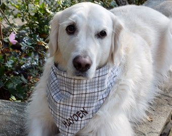 Grey Flannel Plaid Pet Bandana    Personalized Dog Scarf    Custom Puppy Gift by Three Spoiled Dogs
