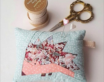Hedgehog Pin Cushion - Floral - Maroon/Pink/Mint/Pale Blue - Rustic/Chintzy - Cute/Nature