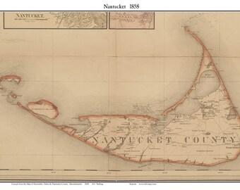 Nantucket 1858 map by H.F. Walling