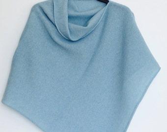 Poncho Soft Merino Lambswool Light Blue