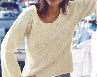 PDF Instant  Digital Download ladies easy knit sweater larger sizes double knit 32/54 inch (331)