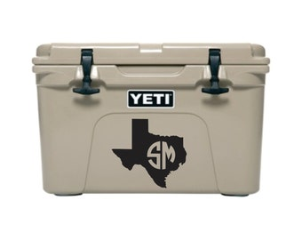 Texas Monogram Decal, Texas Decal for Cooler, Cooler Decal, Cooler Monogram Decal, Monogram Decal for Cooler, Texas Cooler Decal