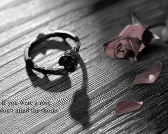 Silver plated rose ring, ROSE,