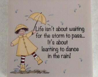 Dance in the Rain Tile, Ceramic Tile, Life Tile, Adversity Tile, Raincoat Tile, Encouragement Tile, Challenges Tile, Uplifting Tile, Isaac