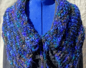 Outlander Inspired Capelet Hand Knitted Cherry Tree Hill Thick N Thin Yarn Wool Mohair Blue Black Teal Brown Soft