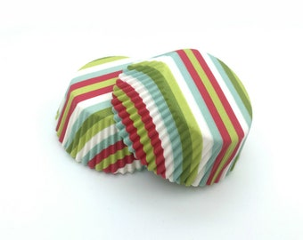 Green Lime Red and Light Blue Stripe Cupcake Liners (50)