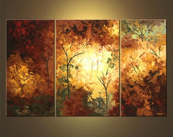 "Landscape Blooming Trees Painting Original Abstract Modern Acrylic by Osnat - MADE-TO-ORDER - 60""x36"""