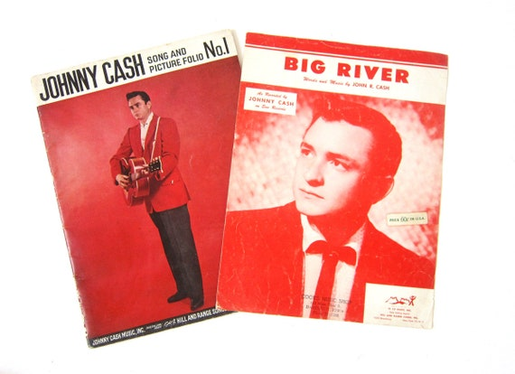 Johnny Cash Big River Sheet Music & Song and Picture Folio for Framing Picture Songs Wall Art Vintage RED Home Decor Hanging