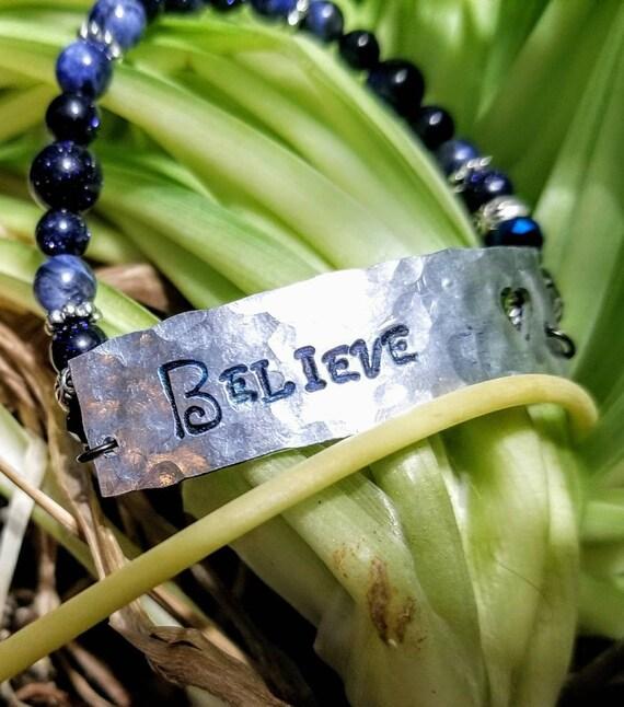 Believe - Stamped Metal Mantra Bracelet with Healing Gemstones