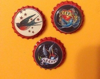 Birds Bottle Cap Magnets  set of 3