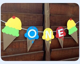 One Ice cream banner / 1st birthday  / Ice cream /  2nd Birthday  / Ice cream party / ice cream cone / ice cream decor / ice cream parlor
