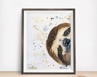 Sloth Art - Sloth Painting - Sloth Gifts - Adorable Sloth - Sloth Nursery - Best Friend Gift - Animal Wall Decor - Mothers Day Gift