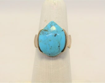 Vintage Sterling Silver and Tear Drop Turquoise BARSE Ring Size 7