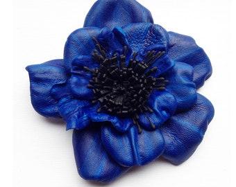 Leather flower brooch, blue flower, OOAK, broach, blue wedding flower, blue  flower corsage, flower pin,  (lf60)