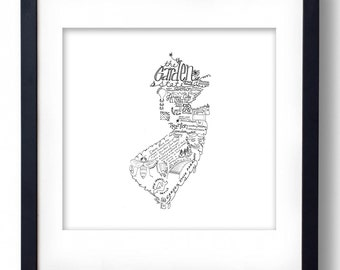 New Jersey - Hand drawn illustrations and type