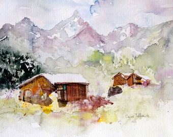 Collage and watercolor,mountain watercolor,original mountain painting, Original Watercolour, Watercolor, cottages watercolor