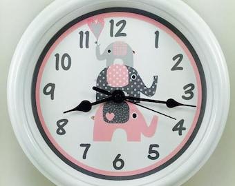 MY THREE ELEPHANTS  Nursery Wall Clock