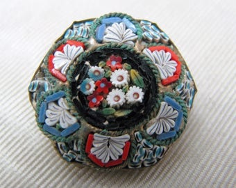 a1060 Lovely Vintage Micro Mosaic Octagon Brooch in Blues and Reds