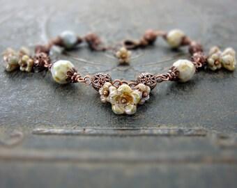 Rustic Green Beaded Bracelet - Antique Copper Filigree Bead Earthy Jewelry - Flower Bracelet - Czech Glass Woodland Nature Lover Gift Idea