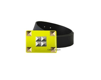Studs Belt Buckle Inlaid in Yellow Opaque Hand Painted Enamel Geometric Inspired for Snap Belts  with Custom Colors Available