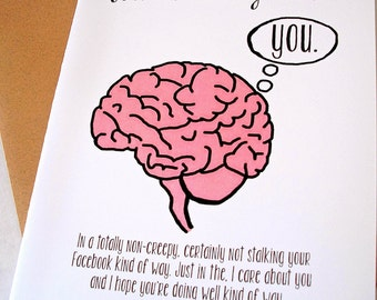 Thinking of You Card - Sympathy Card - You're On My Mind - Facebook Stalker