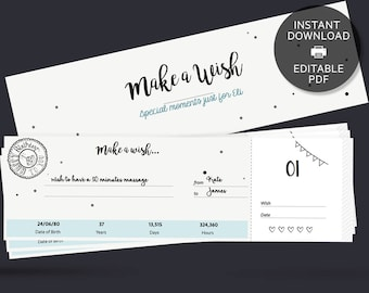 Personalised Birthday Gift Coupon Book /Voucher | Printable PDF with Editable Text  | Instant Download