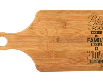 """Custom Bamboo Cutting Board  - Popular Food Quotes - God Bless the Food - 13.25""""x7"""" - 9/16"""" Thick"""