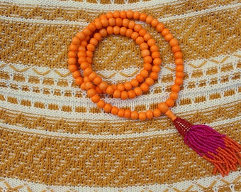 Tropical Sunrise Mala // Orange Bone Mala