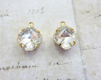 Vintage Rhinestone Drop 10mm Square Octagon Glass Rhinestone in Brass Prong Setting (2) Lots of sparkle