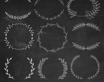 Hand Drawn Laurels Digital Clipart, Chalkboard Laurels Clipart, Wreaths Clipart, Leaves Clipart