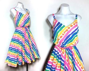 M | 70s rainbow dress / vintage rainbow sundress / 70s striped dress / 70s sundress / 50s sundress / psychedelic dress / cotton sundress
