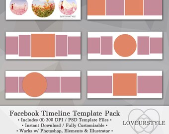 Facebook Timeline Template, Template Pack, Timeline Cover, Facebook Cover, Photo Template, Photo Collage Template, Marketing Tool