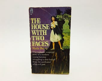 Vintage Gothic Romance Book The House with Two Faces by Sheila Bishop 1960 Paperback
