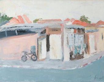 Original fine art painting of tel-aviv neighborhood(acrylic on canvas)